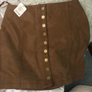 Free People Tan Leather Skirt Size 4